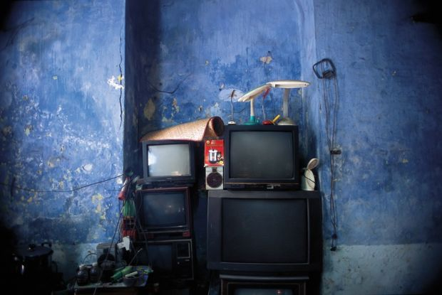 10_Still life with blue arcade,  stacked televisions and percolator